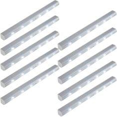 tectake 10x Svetelná LED lišta svietidlo a integrovaný detektor pohybu - šedá