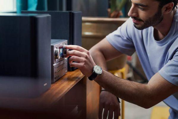 stílusos mikrorendszer Philips tam8905 100w tápegység bluetooth aux USB lejátszásban usb töltés dab fm tuner cd meghajtó spotify connect mp3cd tervezés hifi rendszerek központi egység matt alumínium basszus reflex hangszórók