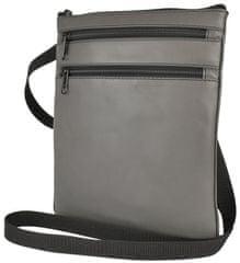 VegaLM Kožená crossbody taška na zipsové vrecká v šedej farbe