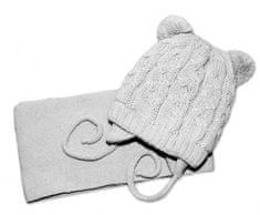 Baby Nellys Zimní pletená čepička se šálou TEDDY - šedá s bambulkami