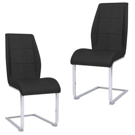 shumee Krzesła stołowe, wspornikowe, 2 szt., czarne, tkanina