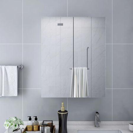 shumee fehér MDF tükrös fürdőszobaszekrény 60 x 15 x 75 cm