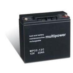 POWERY Akumulátor núdzové napájanie (UPS) 12V 22Ah (nahrádza tiež 17Ah, 18Ah, 19Ah) hlboký cyklus