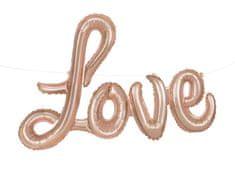 Unique Balónový banner Love ružovo-zlatý