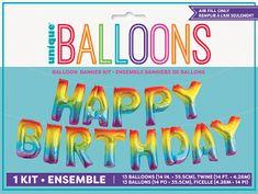 Unique Balónový banner Happy Birthday farebný