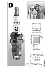 Brisk zapalovací svíčka DR15TC řada Extra