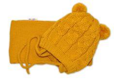 Baby Nellys Zimní pletená čepička se šálou TEDDY - hořčicová s bambulkami