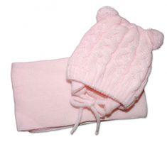 Baby Nellys Zimní pletená čepička se šálou TEDDY - růžová s bambulkami