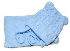 Baby Nellys Zimní pletená čepička se šálou TEDDY - světle modrá s bambulkami