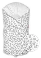 Baby Nellys Klasická retro šněrovací zavinovačka Gumoví medvídci, 75x75cm - šedá,bílá