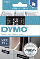 Dymo D1 traka, 12 mm x 7 m, bijela / crna
