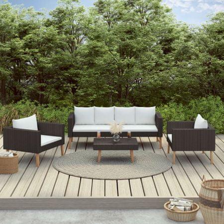 shumee 4 részes fekete polyrattan kerti ülőgarnitúra párnákkal