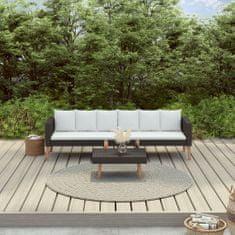 shumee 2-cz. ogrodowy zestaw wypoczynkowy, poduszki, czarny rattan PE