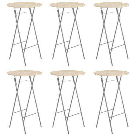 shumee 6 db acél és természetes fenyőfa bárasztal 60 x 113 cm