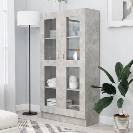 shumee betonszürke forgácslap vitrinszekrény 82,5 x 30,5 x 150 cm