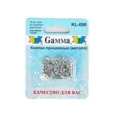 Gamma 3 sady, všité knoflíky, d = 9 mm, 10 ks, stříbrná barva