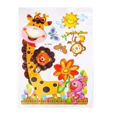"""Kraftika Etykieta plastiku """"żyrafy i niedźwiedzie"""" mix 38h22,5 cm"""