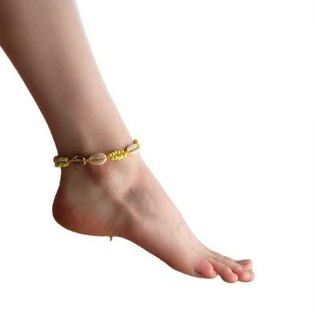 """Kraftika Karkötő a lábán"""" kagyló """"gyöngyökkel, fehér-sárga színű"""