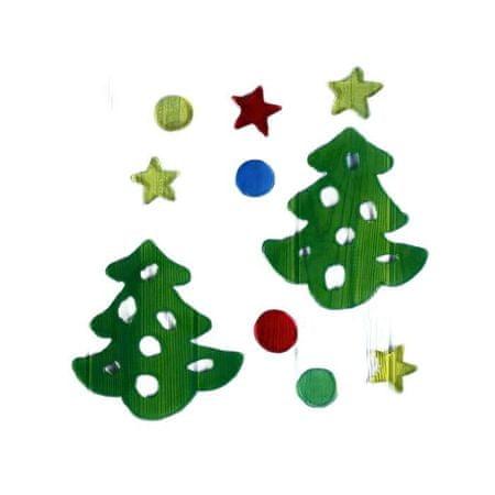 """Kraftika Üveg matrica """"karácsonyfák"""" (készlet 10 db) 12. 5x12. 5 cm"""