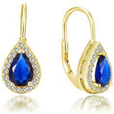Beneto Aranyozott fülbevaló kék cirkónium kövekkel AGUC2229-GOLD