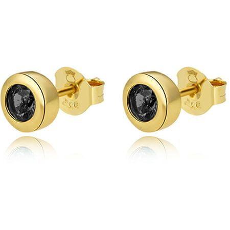Beneto Aranyozott ezüst fülbevaló fekete cirkónium kövekkel AGUP2259-GOLD