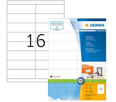 Herma Premium 4264 etikete, 105 x 33,8 mm, bele, 100/1