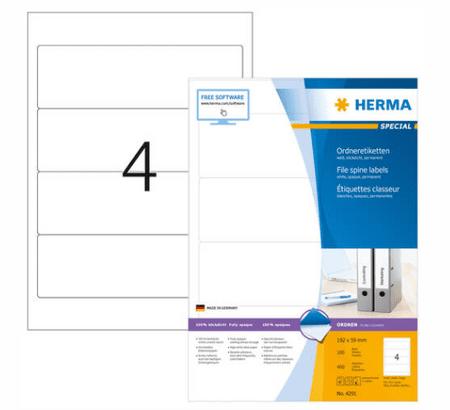Herma Premium 4291 etikete, 192 x 59 mm, bele, 100/1
