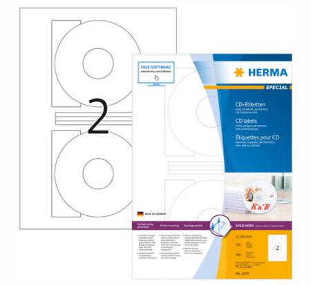 Herma Special 4471 etikete za CD, Ø 116 mm, bele, 100/1