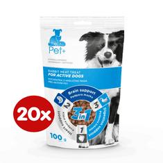 thePet+ dog Active treat priboljški za aktivne pse, z zajčjim mesom, 20×100 g