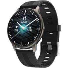 Printwell Chytré hodinky v češtině, PW-103, Bluetooth 5.0, elegantní smart watch s krokoměrem, oxymetrem, měřením tepu, tlaku, černé s černým páskem