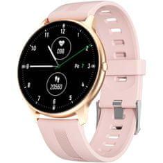 Printwell Chytré hodinky v češtině, PW-103, Bluetooth 5.0, elegantní smart watch s krokoměrem, oxymetrem, měřením tepu, tlaku, zlaté s růžovým páskem