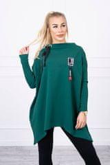 Kesi Asymetrické mikinové šaty, oversized, zelená