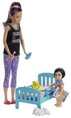 Mattel Barbie bébiszitter játék szett kisággyal