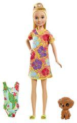 Mattel Barbie sestra s kopalkami in zelenim kovčkom