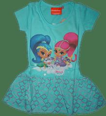 Nickelodeon Dívčí tyrkysové šaty Shimmer a Shine s krátkým rukávem.