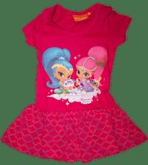 Nickelodeon Dívčí růžové šaty Shimmer a Shine s krátkým rukávem.