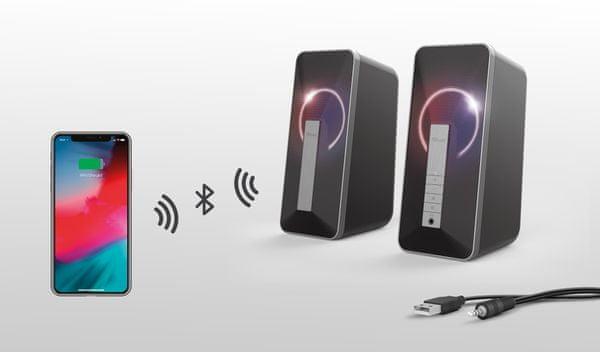 Głośniki Trust Arva (23820) moc 6W, RGB, jack 3,5mm usb, podświetlenie RGB, zmiana kolorów