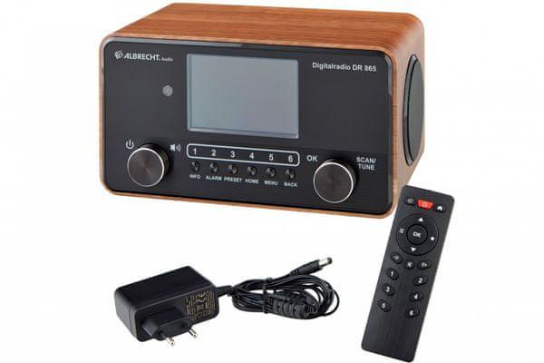 moderní radiopřijímač albrecht dr 865 bluetooth dab fm tuner baterie síťový provoz budík časovač vypnutí tft barevný displej 60 předvoleb hudební výkon 14 w příjemně znějící zvuk sluchátkový výstup ekvalizér pro úpravu zvuku režim pro seniory