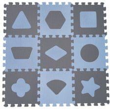BabyDan Hracia podložka puzzle Geometrické tvary, blue 90x90 cm