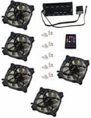Eurocase Ventilátor pro PC RGB 120mm (FullControl spot Led), set 5ks + controller