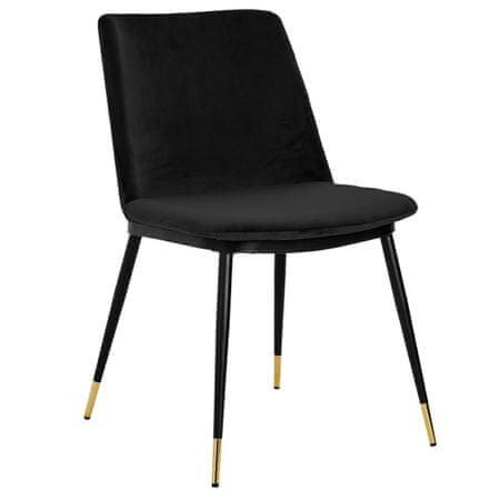 shumee Krzesło DIEGO czarne - welur, podstawa czarno złota