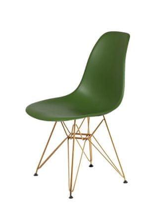 shumee Krzesło DSR GOLD butelkowa zieleń.27 - podstawa metalowa złota