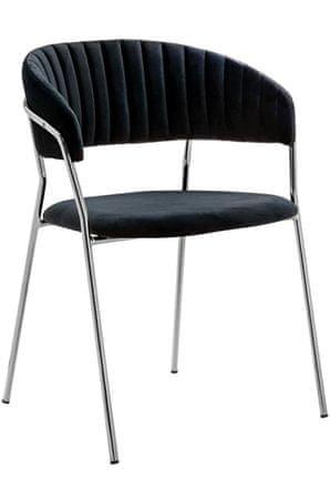 shumee Krzesło MARGO SILVER czarne - welur, podstawa chromowana