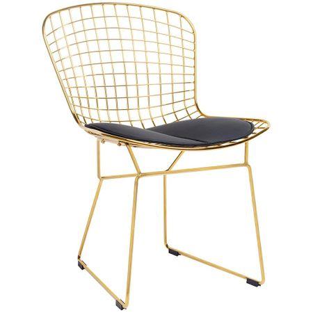 shumee Krzesło NET SOFT GOLD złote - czarna poduszka, metal