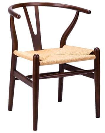 shumee Krzesło WISHBONE ciemny brąz - drewno bukowe, naturalne włókno