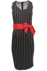 Sandro Ferrone Pruhované šaty s červeným opaskom Sandro Ferrone Čierna XS