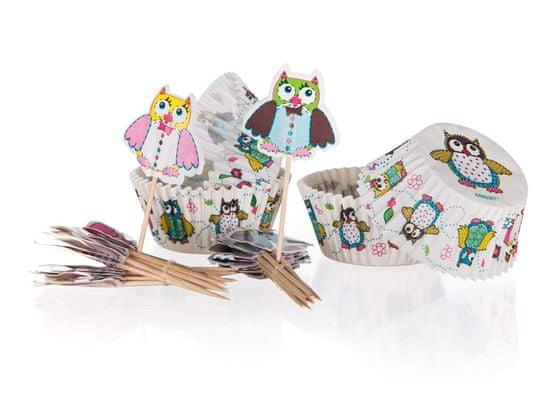 Banquet Sada 24+24 - papierové cukrárské košíčky a dekoračné zápichy OWLS (Veselé sovičky)