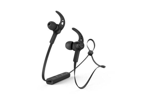 nowoczesne słuchawki bluetooth bezprzewodowe hama connect obsługa sterowania głosem google assistant i apple siri odporność na pot magnetyczne końce słuchawek przycisk sterujący wysokiej jakości przetworniki dostrojony dźwięk lekka konstrukcja płaski pasek za szyję żywotność 4 godz. na ładowaniu