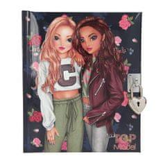 Top Model Zápisník na zámok v tvare srdca , Christy a Nyela, tmavomodrý, s ružami
