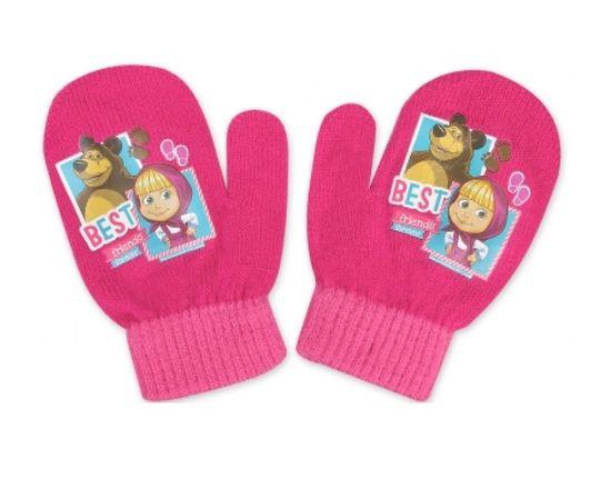 """SETINO Dievčenské rukavice """"Máša a medveď"""" - tmavo ružová - 10x13 cm"""